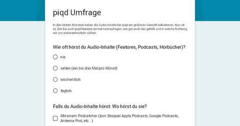 UMFRAGE: Wie gefällt es dir, dass Audio-Inhalte bei piqd prominenter geworden sind?