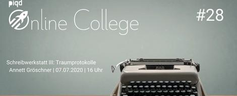 Schreibwerkstatt III: Traumprotokolle | Annett Gröschner | 07.07.2020 | 16 Uhr